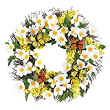 Collections Etc White Floral Yellow Berry Twig Door Wreath with Butterflies, 18'' Diam