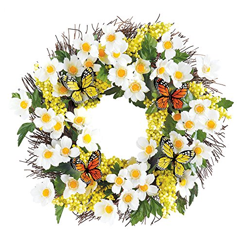 Collections Etc White Floral Yellow Berry Twig Door Wreath with Butterflies, 18'' Diam by Collections Etc
