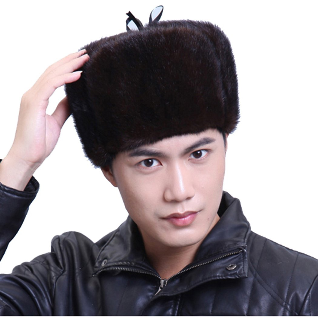 URSFUR Mink Full Fur Russian Hat (One Size, Brown) by URSFUR (Image #6)