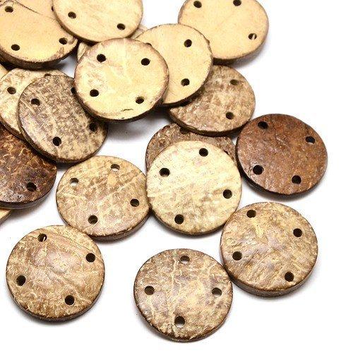 Charming Beads Pacco 10 x Beige//Marrone Noce di Cocco 30mm Bottoni Tondi HA10890 - 4 Fori