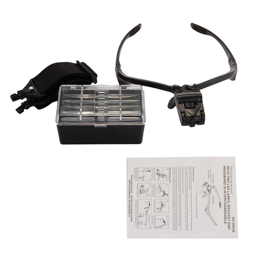 -Lente di ingrandimento Loupes Occhiali con lenti di ingrandimento e 2 luci a LED e lente di ingrandimento R TOOGOO