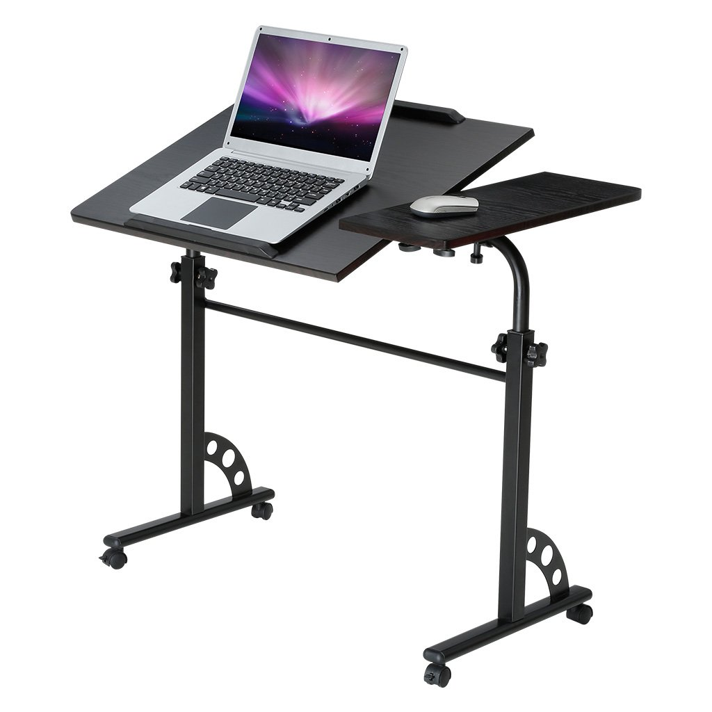 LANGRIA Laptop Rolling Cart Computer Stand Desk Large Wooden Table Top Height Adjustable PC Home Office Workstation
