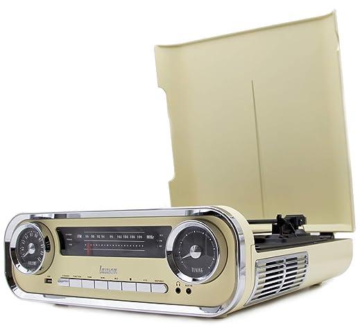 Lauson 01TT15 Tocadiscos Diseño Vintage Coche de Colección con 2 Altavoces Estéreo Integrado de 3 W   Tocadisco Vinilo con Radio FM, Función ...