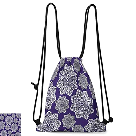 Amazon.com | Yoga backpack Navy Blue Decor Floral Lace ...