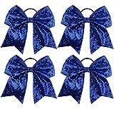 HLIN 8'' Sequin Cheer Bow Large Hair Bows Ponytail Holder Handmade for Cheerleading Girls (Regal Blue)