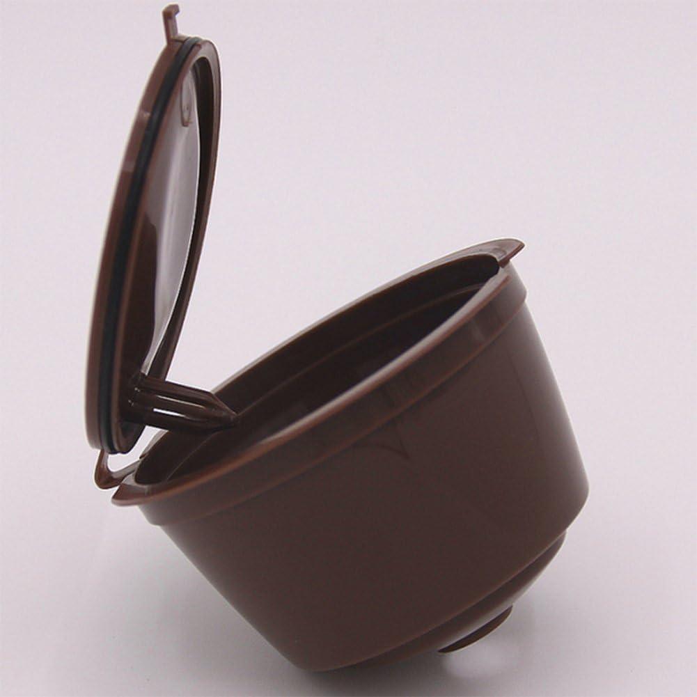 Dosige 2 Pcs Kaffee Kapseln Nachf/üllbare Kaffee Filter Wiederverwendbare Kaffeekapself/üllung Dolce Gusto f/ür Nespresso und Tea Braun