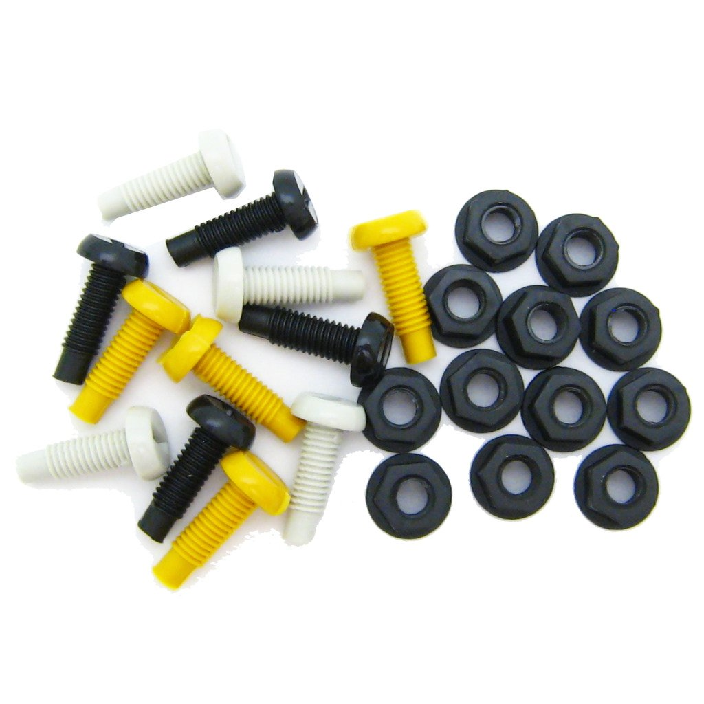 All Trade Direct 12 Pk Mixed Colour Plastic Number Plate Bolts & Nuts