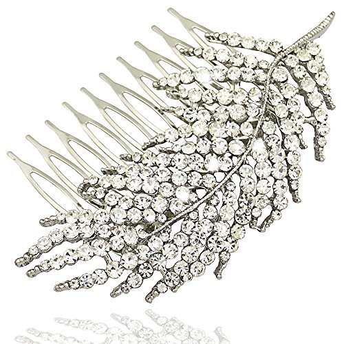 Q&Q Fashion Silver 1920s Gatsby Diamante Feather Leaf Bridal Prom Hair Pin Clip Dress Slide Comb