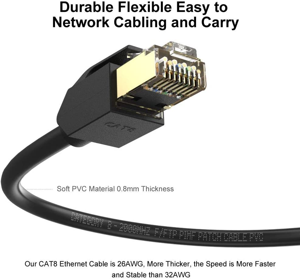 Xbox MOAVEQ 40Gbps 2000Mhz High Speed Gigabit SFTP LAN Network Cable with Gold Plated Rj45 Connectors for Gaming PS3//PS4 CAT8 Ethernet Cable 3ft Modem 1m, 2Pack