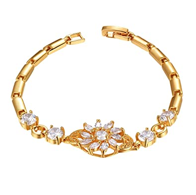 18K Gold Plated Bracelet Cubic Zirconia Sunflower Charm Bracelet Women Bracelets and Bangles YoOoA