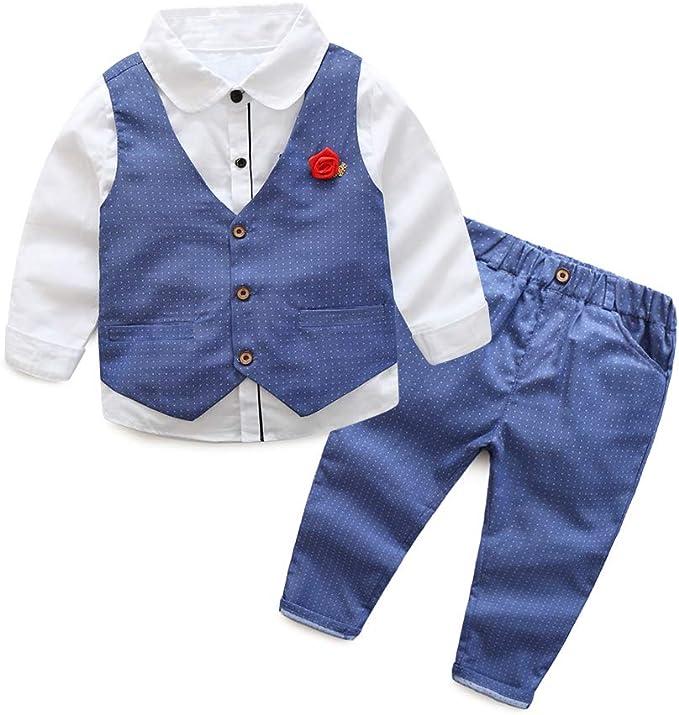 Fairy Baby Baby Boys 3pcs Formal Suit Toddlers Gentleman Bodysuit+Vest+Trousers