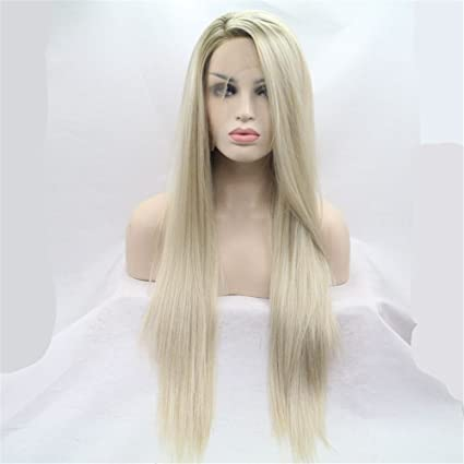 sielity peluca gris Mujer de pelo largo Wigs Amarillo | Golden Wig para Fiesta temática Fiestas