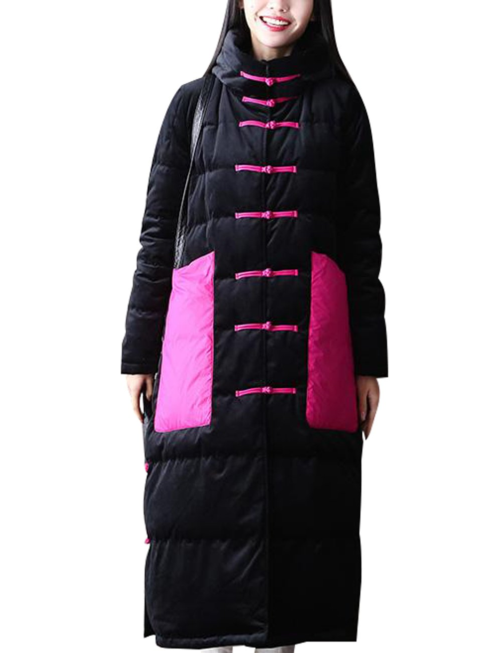 Zoulee Women's Long Maxi Chinese Frog Down Coat with Hood Front Two Pockets Style 2 Size L
