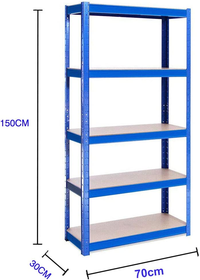 Blue 150 x 70 x 30 cm 5-Tier Garage Shelving Unit Steel /& MDF Boltless Shelves Metal Shelving Unit Heavy Duty 175kg Capacity Per Shelf Metal Racking