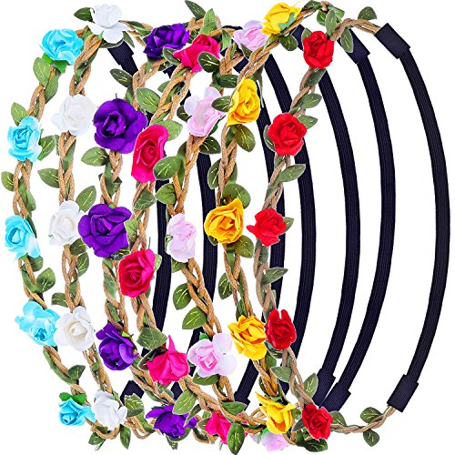 White Rose Headband (eBoot 7 Pieces Rose Flower Headband Hair Band for Women Girls Hair Accessories (Multicolor B))