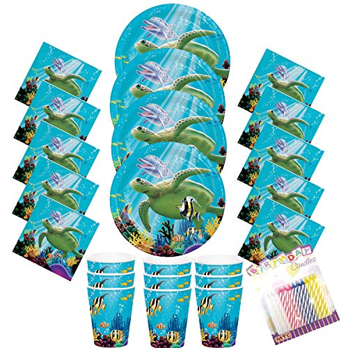 Ocean Party Dessert Plates Beverage Napkins and Cups Serves 16 with Birthday Candles - Ocean Sea Turtle Dolphin Party Supplies Pack (Bundle for 16) ()