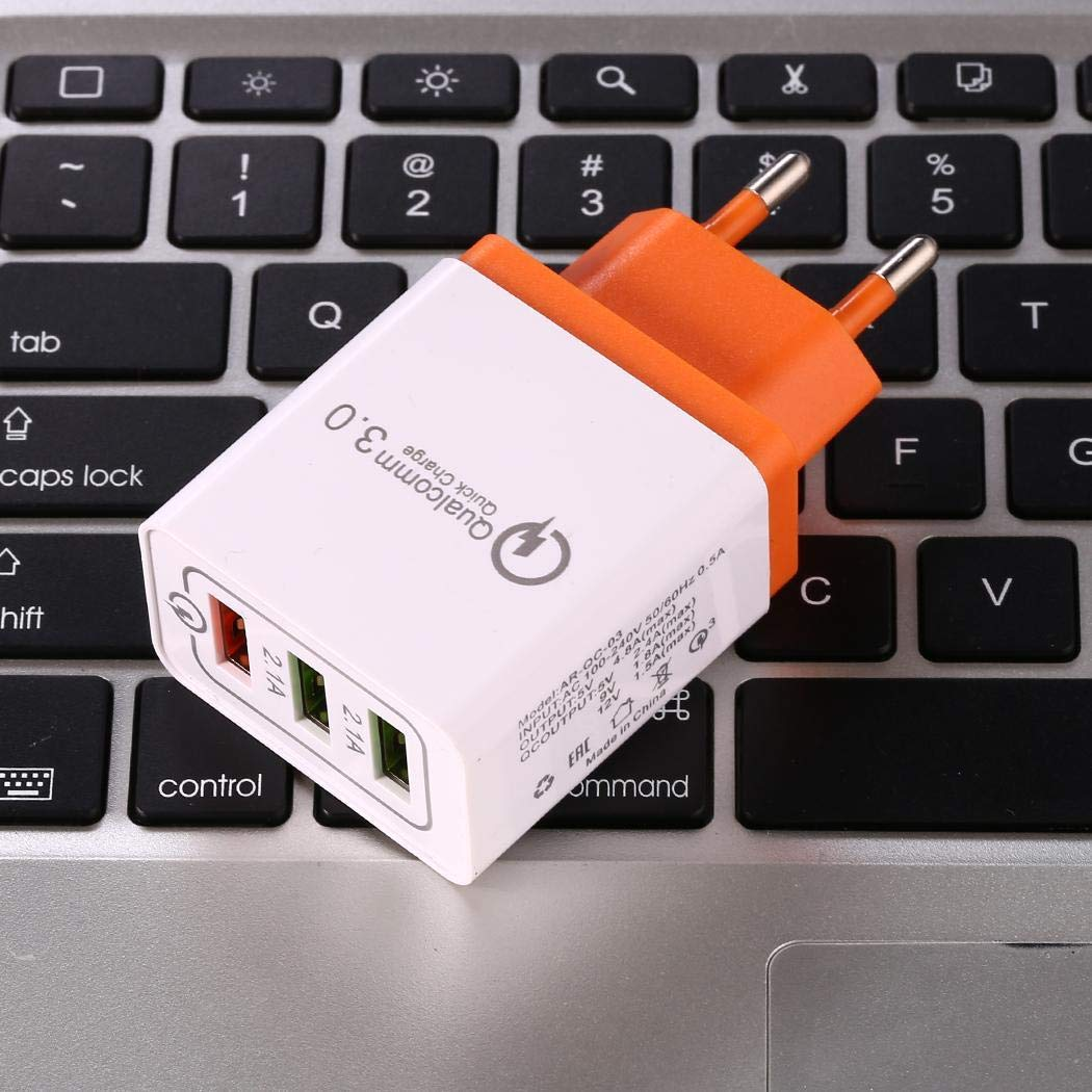 yagot Quick Charge 3.0 USB 3 Ports Handy Wand Home Reise Schnellladegerät Adapter Akkus, Ladegeräte & Netzteile