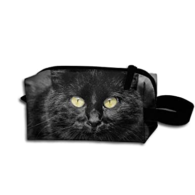 64132e5a707b Amazon.com: Makeup Cosmetic Bag Black Cat Yellow Eyes Black Zip ...