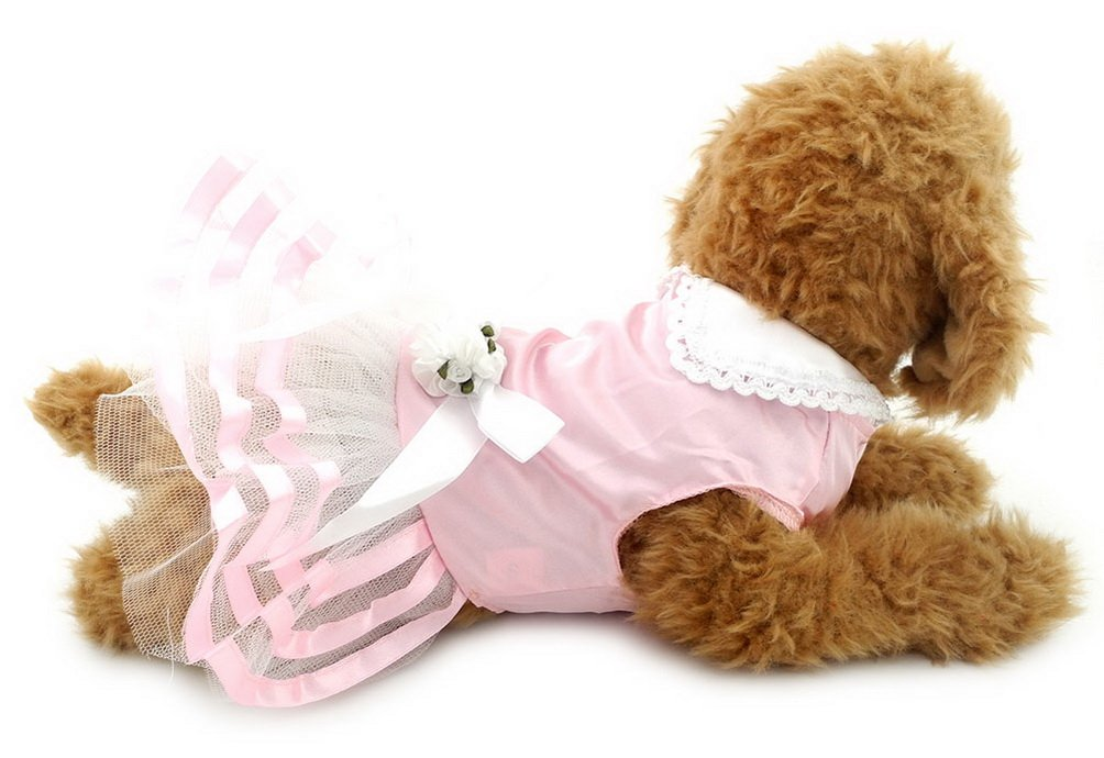 SELMAI Pet Clothes Satin Tutu Dress Tiered Summer for Small Dog Cat Puppy Pink S