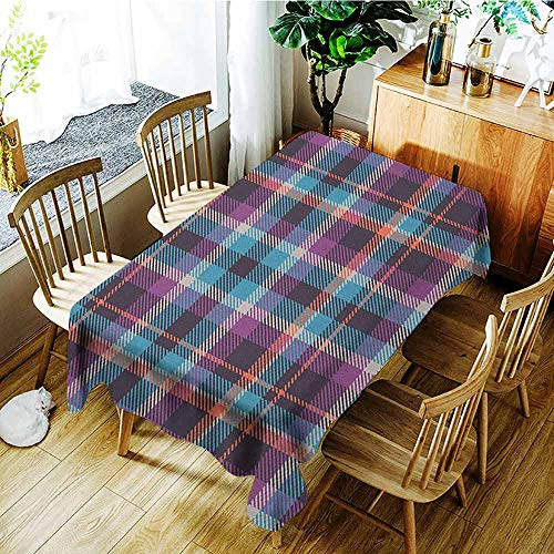 Checkered Anti-wrinkle and anti-wrinkle polyester long tablecloth Celtic Tartan Irish Culture Scotland Country Antique Tradition Tile For weddings/banquets W70 x L95 Inch Violet Pale Blue Salmon -
