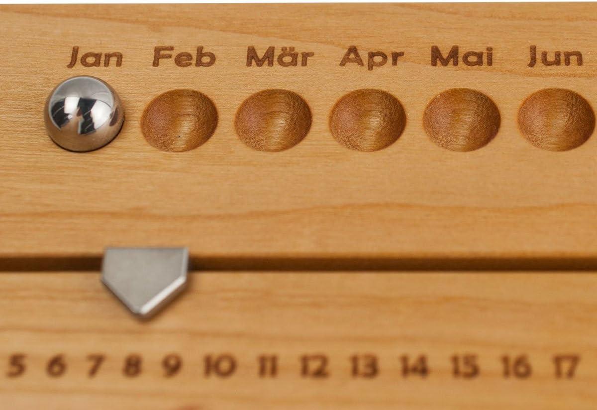 H/öhe: 2,2 cm Handarbeit aus Deutschland L/änge: 18,6 cm 4betterdays Hochwertiger Ewiger Kalender aus Kirschholz Breite: 6,2 cm rutschfest