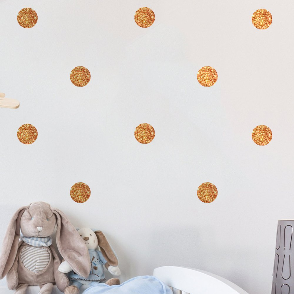 Amaonm 72 Pieces 4cm/1.6inch Removable Sparkling Dots Wall Decals DIY Polka Dot Decor Stickers Glitter Dot Wall art Decoration for Home Wall Nursery Kids Girl Boy Bedroom Living Room 6 Sheet (Copper)