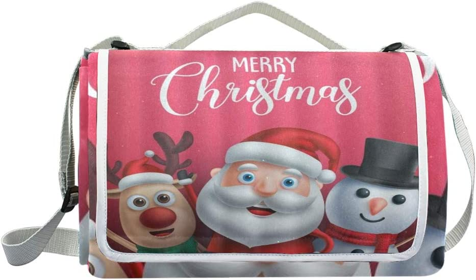 XINGAKA Coperta da Picnic Tappetino Campeggio,Buon Natale Festivo Palle e Nastri di Natale Festa delle Foglie di Pino,Giardino Spiaggia Impermeabile Anti Sabbia 14