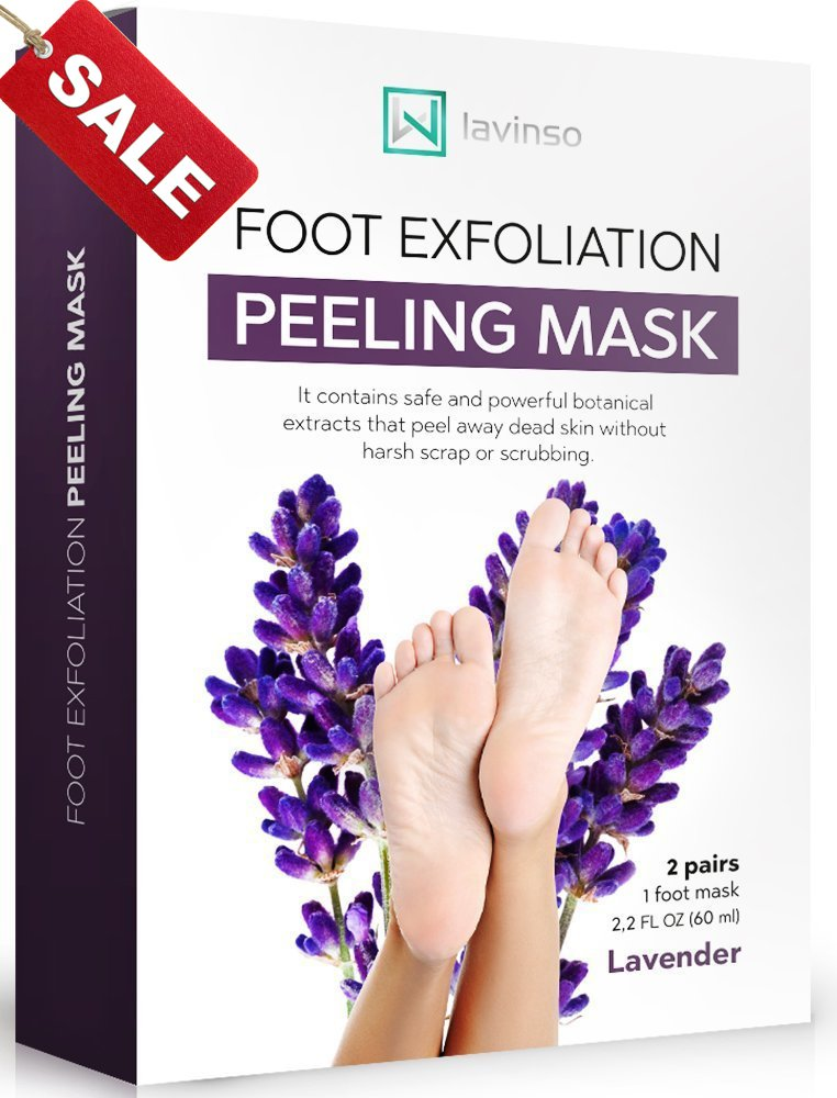 Lavinso Exfoliating Foot Peel Mask for Feet Peeling 2 Pack - Peeling Socks Booties - Exfoliating Dry Dead Cracked Rough Skin Heels Calluses - Callus Remover - Baby Soft Smooth Touch Feet - Men Women