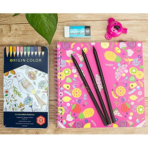 XINCX Drawing Kit with 12 Colored Pencils, Koala Sharpener, Sketch ...