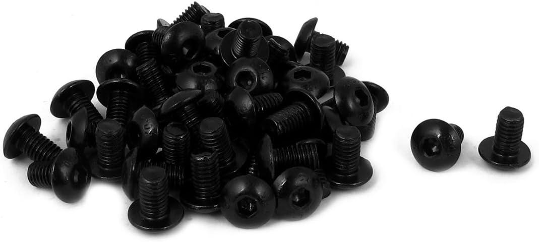 sourcingmap M5 x 8 mm confezione da 50 pezzi colore: nero pulsante Vite a testa esagonale con bulloni
