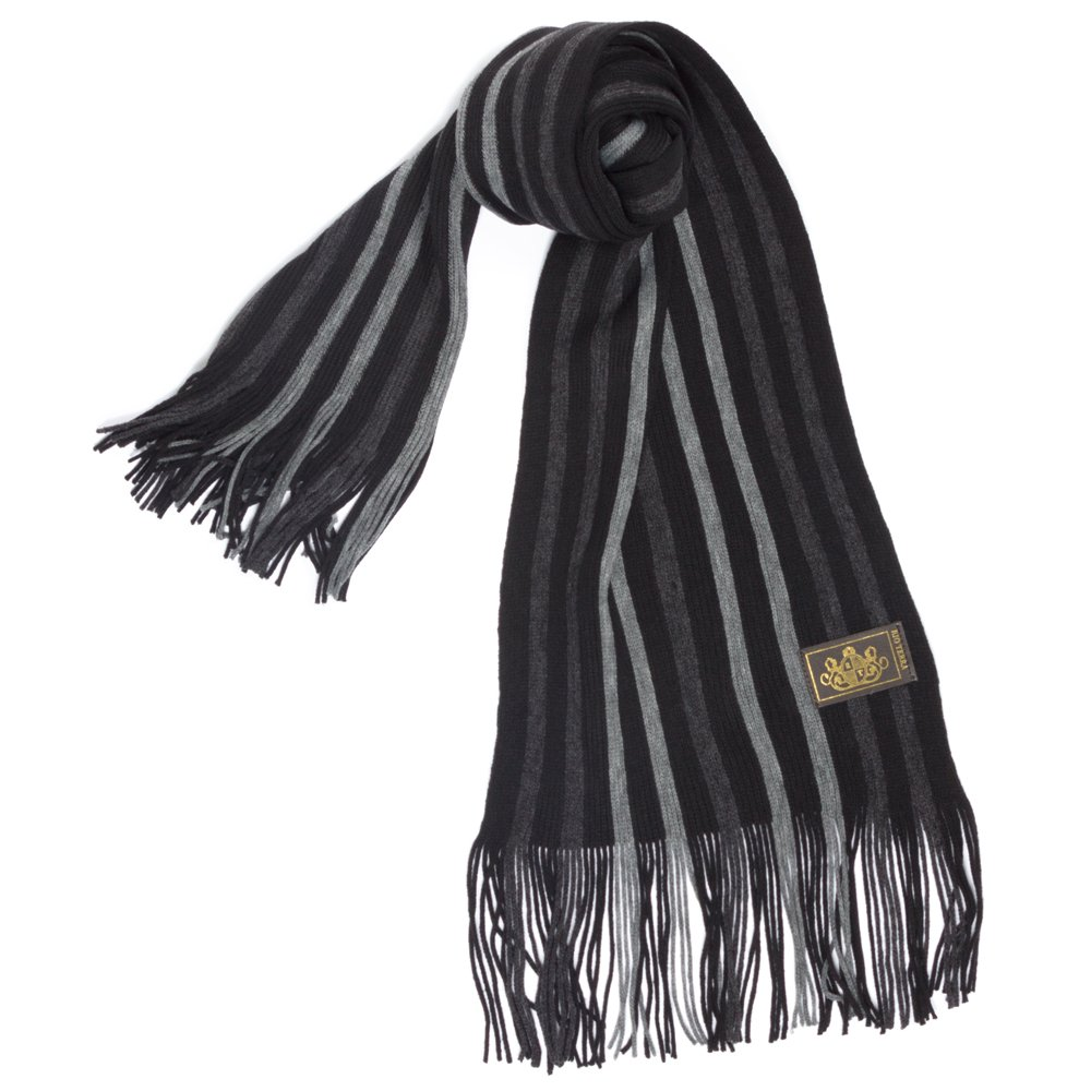 Rio Terra Men's Knitted Scarf, Designer Scarves for Winter Fall Fashion, Silver & Grey by Rio Terra (Image #1)