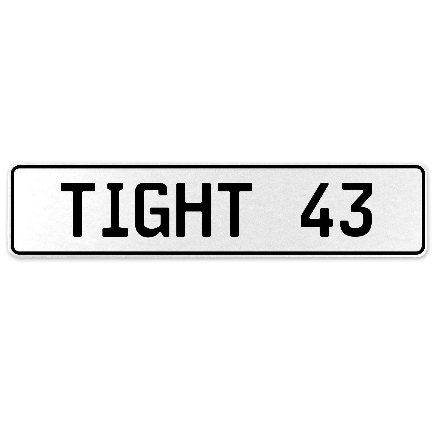 Vintage Parts 554739 Tight 43 White Stamped Aluminum European License Plate