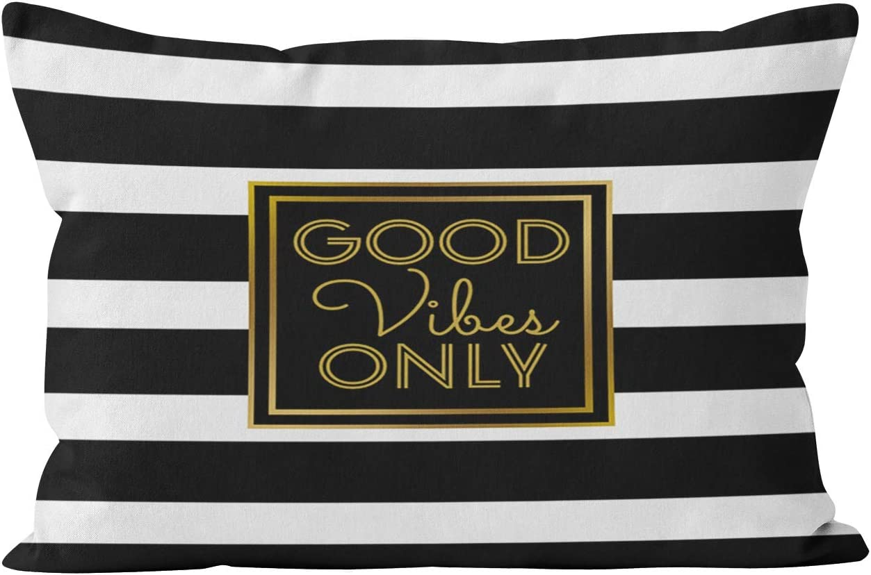 Suike Good Vibes Only Modern Black and White Stripe Gold Beauty Hidden Zipper Furniture Home Decorative Rectangle Throw Pillow Cover Cushion Case Boudoir 12x20 Inch One Side Design Printed Pillowcase