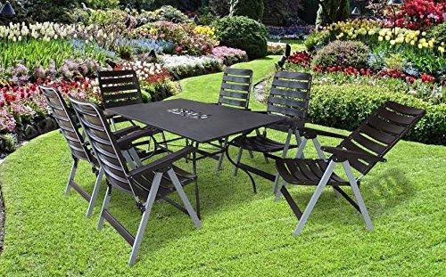 7-teilige absolut wetterfeste Gartenmöbelgruppe Rom, 6 Klappsessel MADE IN GERMANY Poel und ein Gartentisch Algiri 150x90 in dunkelbraun, aus dem Hause MFG und Belardo.