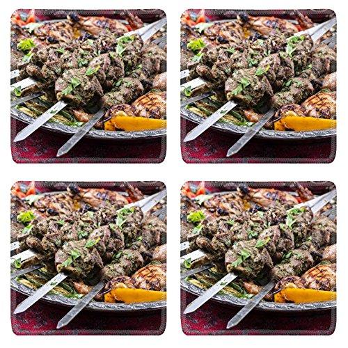 MSD Square Coasters Non-Slip Natural Rubber Desk Coasters design: 30333351 lamb kebab