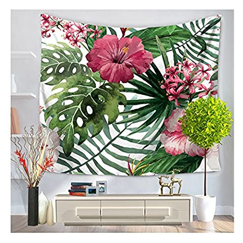 HOMTOD Palm And Floral Wall Tapestry Wall Art Home Decor Hanging Tapestry 59x51-inch - Floral Tapestry