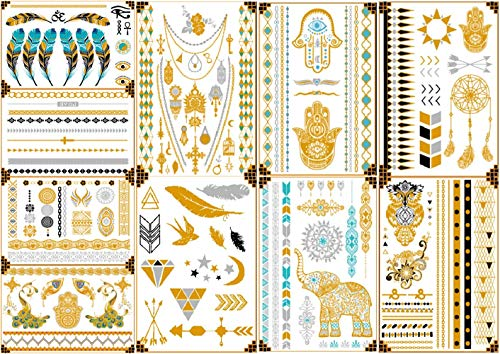 Tattoo Stickers Temporary Metallic Henna Tattoos -Over 100 Mandala Mehndi Gold Silver Shimmer Designs Jewelry Tattoos 150×210mm(10 Sheets)