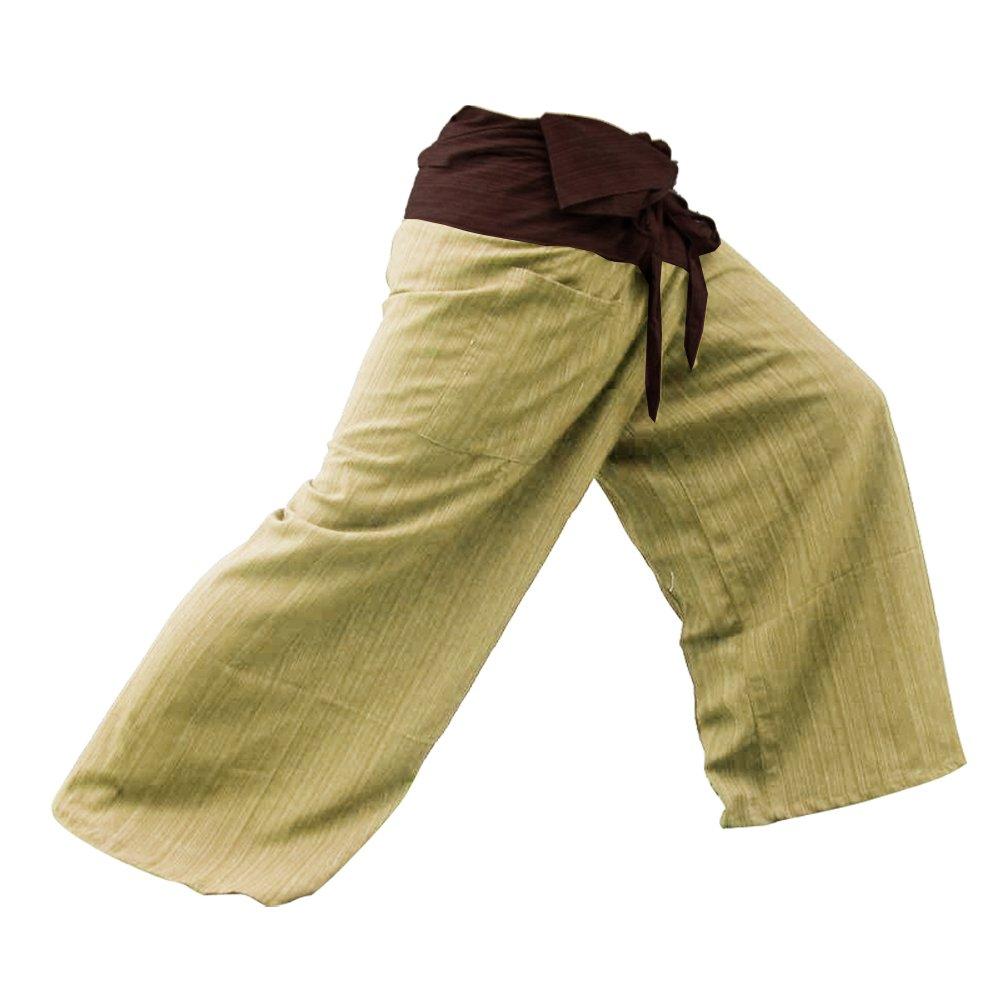 2 TONE Thai Fisherman Pants Yoga Trousers FREE SIZE Plus Size Cotton Drill Striped Brown Thailand