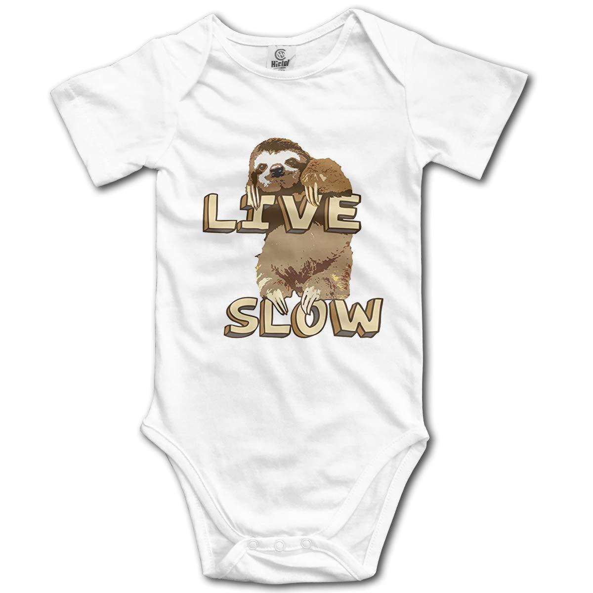 CHETI Cute Sloth Live Slow Newborn Infant Toddler Baby Girls Boys Bodysuit Short Sleeve 0-24 MonthsBlack