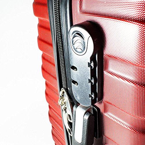 ALEKO LG915BURG ABS Luggage Travel Suitcase Set with Lock 3 Piece Horizontal Stripe Burgundy by ALEKO (Image #3)