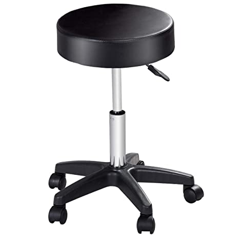 Tremendous Costway Round Height Adjustable Hydraulic Rolling Swivel Bar Stools With Casters Wheel 360 Degree Rotation Stool Chair For Home Kitchen Office Salon Short Links Chair Design For Home Short Linksinfo