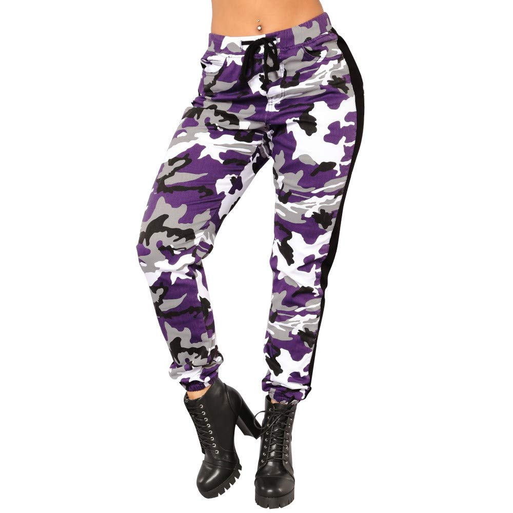 SMALLE ◕‿◕ Clearance,Pants for Women, Camo Trousers Casual Pants Military Army Elastic waistt Camouflage Pants