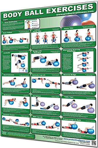 Productive Fitness Laminated Fitness Poster - Body Ball Exercises (Core) - 24'' x 36'' Wall Chart for Home or Gym - Stability Ball Workout