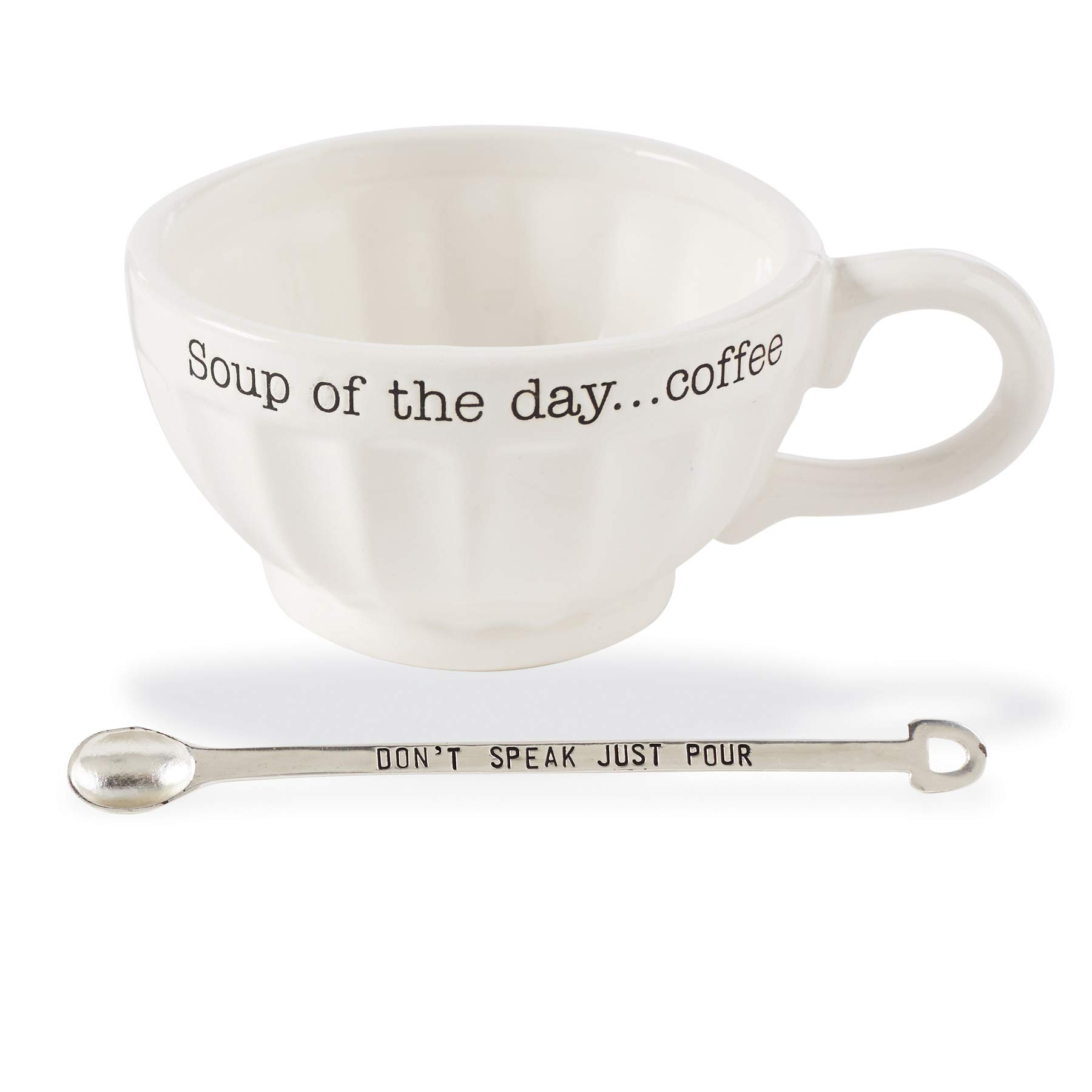 Mud Pie 43500013S Vintage Inspired Coffe Spoon-Soup of The Day Coffee Mug Set, One Size,