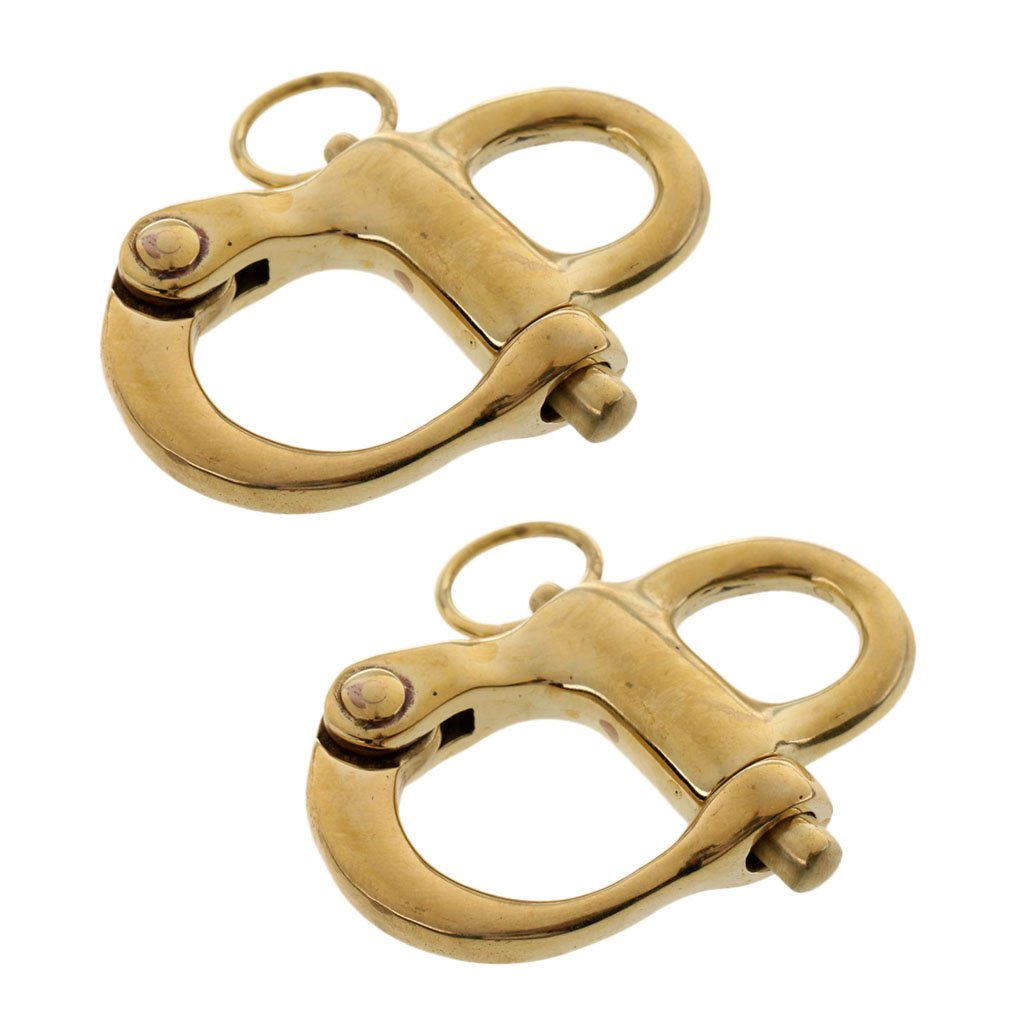 MonkeyJack 2pcs 2'' 50mm Copper Fixed Eye Snap Shackle Quick Release Fixed Bail Sailing Boat Rigging