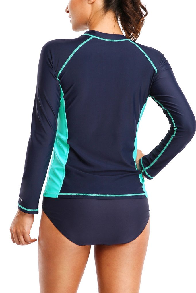 ALove Womens Rash Guard Shirts Long Sleeve UV Swim Shirt Rashguard Top Navy Medium by ALove (Image #3)