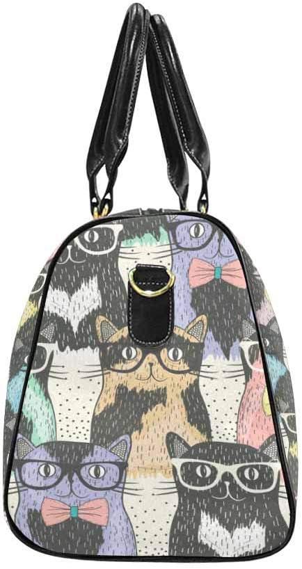 InterestPrint Carry-on Garment Bag Travel Bag Duffel Bag Weekend Bag Cute Cats with Glasses