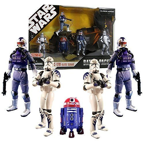 Star Wars 30th Anniversary Battle Pack ARC 170 ELITE SQUAD with 5 Action Figures Exclusive Purple R2 Astromech Droid R4-C7 (Clone Arc 170 Star Wars)
