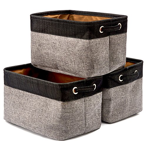 EZOWare Collapsible Large Storage Bins Basket [3-Pack] Canvas Fabric Tweed Storage Organizer Cube Set W/Handles for Nursery Kids Toddlers Home and Office - Black/Gray 15 L x 10.5 W x 9.4 H