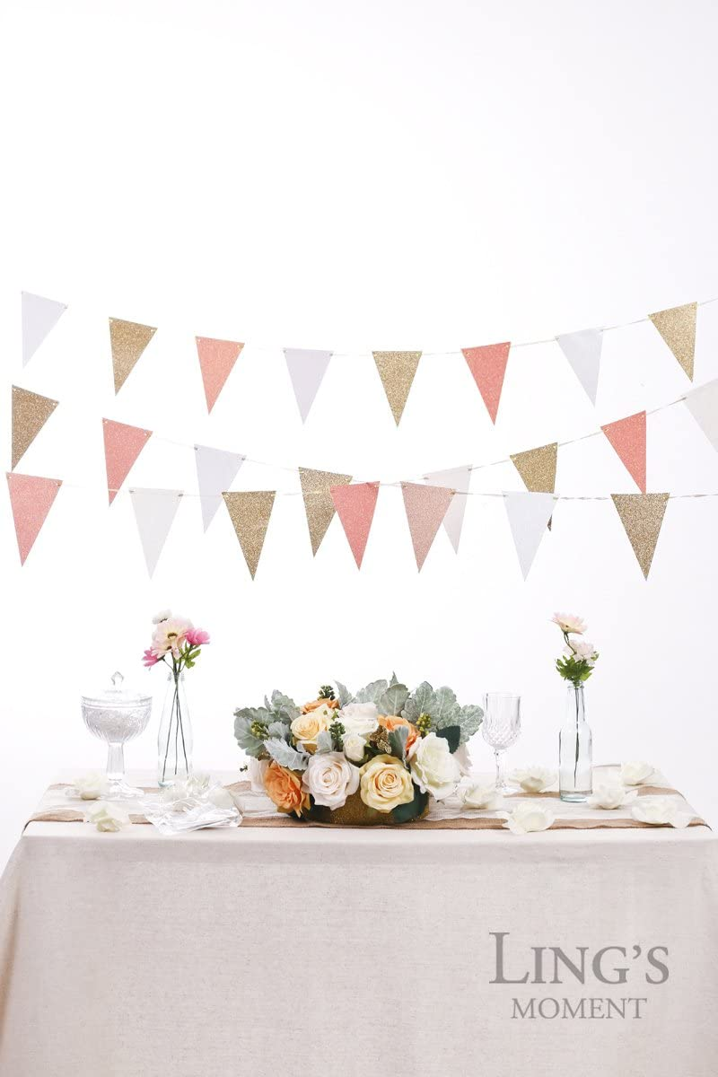 10ft Double Sided Glitter Bunting Banner Triangle Flags for Wedding Party Decor